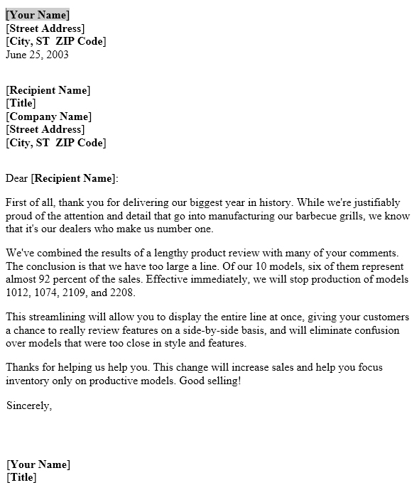 discontinued product notice  u2013 letter template