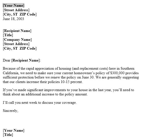 Increase Insurance Coverage Reminder Letter | Useful ...