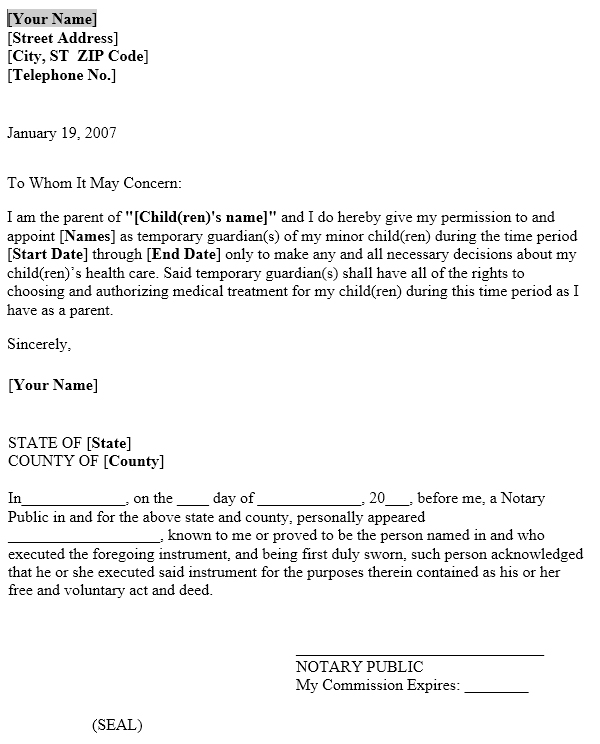 power of attorney letter for child